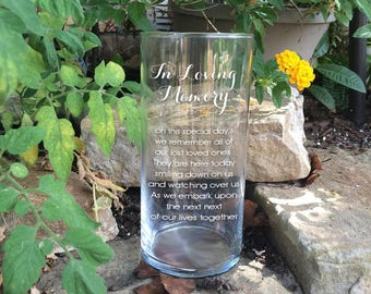 Memorial Vases - In Loving Memory Vase -Floating Wedding Memorial Candle - Memorial Candle - Engraved Memorial Cylinder