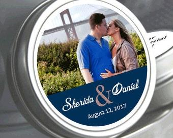 Wedding Decor - 12 Wedding Mint Tins - Wedding Favors - Photo Mint Tins - Wedding Mints - Mint To Be - Tin Mints - Bridal Shower Decor