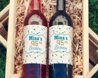 Milestone Birthday Wine Labels - Thank You Wine Labels  - Birthday Wine Bottle Labels - Custom Labels - Color Coordinated