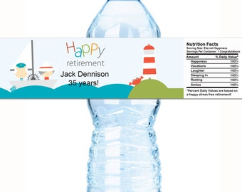 "20 Personalized Retirement Water Bottle Labels - Select the quantity you need below in the ""Pricing & Quantity"" option tab"
