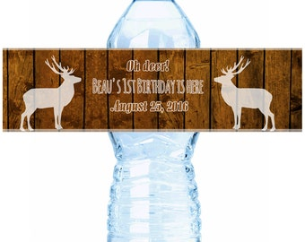 Personalized Deer on Wood Water Bottle Labels - Birthday Water Bottle Labels - Birthday Labels - Rustic Water Labels - Country Label