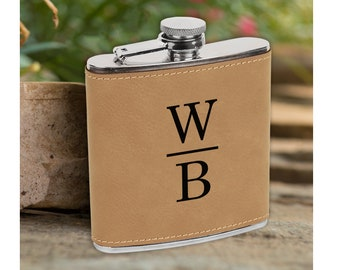 Personalized Light Brown Leather Flask - Groomsman Flask - Best Man Gift - Gift for Him - Grooms Gift  - Light Brown Flask - Flask Gift