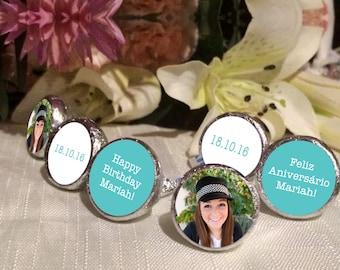 108 Photo Hershey Kiss® Stickers - Hershey Kiss Stickers Wedding - Personalized Hershey Kiss Labels - Birthday Hershey Kiss Seals - Aqua