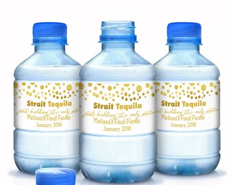 Bachelorette Water Bottle Labels - 30 Fun Wedding Water Labels - Straight Tequila Water Bottle Labels - Gold Dots - Wedding Favors