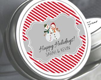 Snowman Winter Mint Tins Favors - Wedding Favors - Happy Holidays - Christmas Decor - Christmas Favors