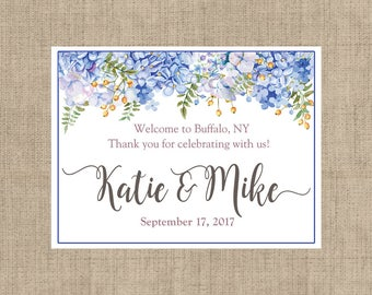 "4"" x 3"" Personalized Welcome Box Labels - 30 Wedding Welcome Bag Labels - Wedding Favor Labels - Welcome Stickers - Box Stickers - Hydrangea"