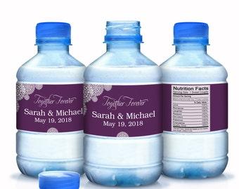 Wedding Water Bottle Labels, Wedding Decor, Doily Themed Wedding, Custom Water Bottle Labels, Wedding Favors, Bottled Water Stickers