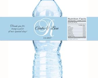 Monogram Wedding Water Bottle Labels - Custom Color Wedding Labels - Monogram Bottle Wraps - Wedding Favors - Wedding Decor