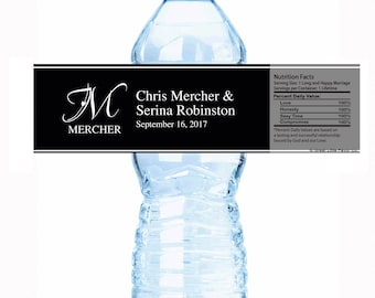 "30 Monogram Wedding Water Bottle Labels - Select the quantity you need below in the ""Pricing & Quantity"" option tab"