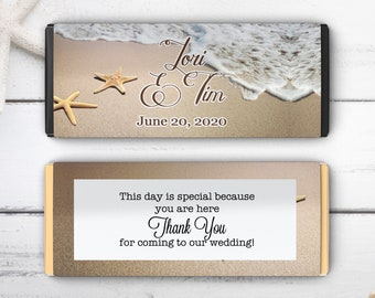 Personalized Hershey Starfish Candy Bar Wrappers | Wedding Candy Bar Wrapper | Beach Starfish Chocolate Wrappers | Wedding Decor (Set of 12)