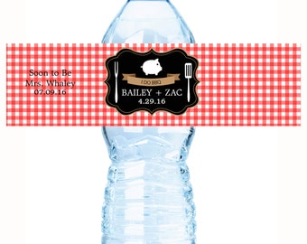 25 Red Gingham BBQ Bridal Shower Water Bottle Labels - Bridal Shower Water Labels - Bridal Shower Decor - BBQ Party Supplies