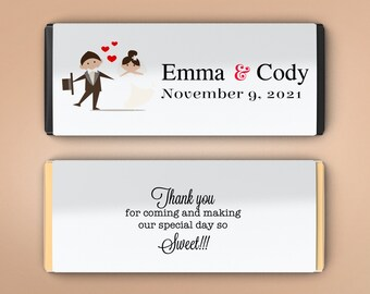 12 Large Personalized Hershey Candy Bar Wrappers - Bridal Shower Favor  -  Wedding Favor Decor - Wedding Decor - Bride and Groom