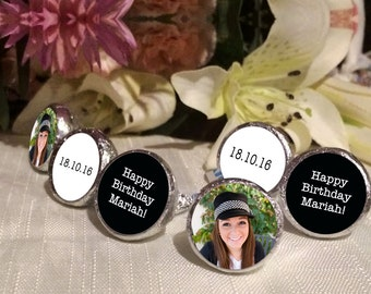 108 Photo Hershey Kiss® Stickers - Hershey Kiss Stickers Wedding - Personalized Hershey Kiss Labels - Birthday Hershey Kiss Seals - Black
