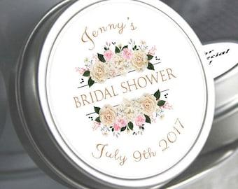 Bridal Shower Mint Tins, Personalized Mint Favor Mint to Be Wedding Favor Personalized Bridal Shower Favor, Mint Tin Favors. White Roses
