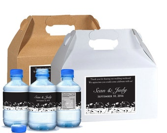 Hotel Wedding Box Kit - 10 Wedding Welcome Box Labels with 20 Matching Water Labels - Water Bottle Label Kit - Wedding Favor Box Labels