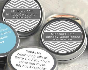 12 Gray Chevron Birthday Mint Tins  - Baby Shower Mint Tins - Custom Party Decor - Chevron Favors -Mint Tin Party Favors