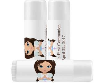 Lip Balm Labels - Personalized Lip Balm Labels - Girl's Communion Lip Balm Labels - 1 Sheet of 12 Lip Balm Labels - Lip Balm Labels