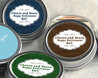 12 Personalized Retirement Mint Tins - Retire Mints - Retirement Favors - Retiremint Favors - Retirement Decor - Retirement Mints - Retired