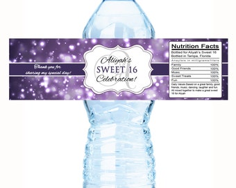 30 Color Coordinated Glow Theme Party Sweet 16 Birthday Water Bottle Labels - Glow Party Theme Labels -  Birthday Bottle Labels