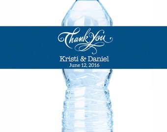 Bottled Water Labels - 30 Wedding Water Bottle Labels - Wedding Bottled Water Labels - Thank You Water Bottle Wraps - Bottle Stickers