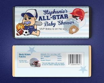 12 Large Personalized All Star Baby Shower Hershey Candy Bar Wrappers - Boys Baby Shower Decor - MVP Baby Shower Favors