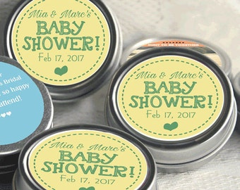 Personalized Baby Shower Mint Tins, Baby Shower Candy, Baby Shower Decor, Baby shower Favors, Yellow and Green