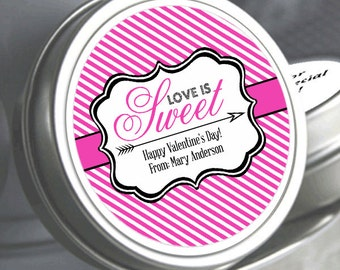 "12 Love is Sweet Personalized Valentine's Mint Tins - Select the quantity you need below in the ""Pricing & Quantity"" option tab"