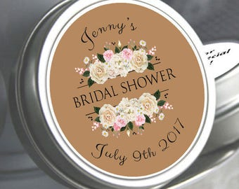 60 Bridal Shower Mint Tins, Personalized Mint Favor Mint to Be Wedding Favor Personalized Bridal Shower Favor, Mint Tin Favors. White Roses