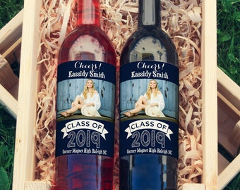 4 Photo Graduation Wine Labels • Personalized Graduation Wine Label - Add Your Picture - Class of 2019 Wine Labels - Custom Color