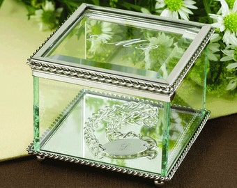 Silver and Glass Mini Jewelry Box | Keepsake Box | Glass Jewelry Box | Bridesmaid Gift | Gifts for Her | Monogram Box | Free Personalization
