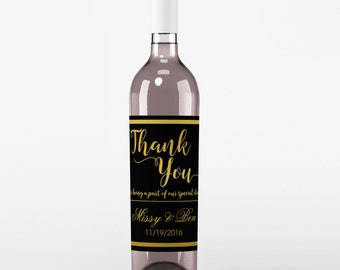 Wedding Wine Label - Custom Wine Label - Personalized Wine Label - Wedding Wine Bottle Label - Black and Gold - Thank You Wine Labels