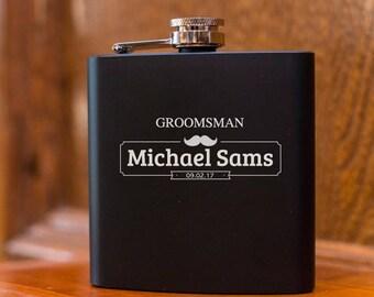 Personalized Black Flask | Hip Flask | Best Man Gift | Wedding Party Gift | Groomsman Gift |  Custom Engraved Flask | Groomsman Wedding Gift
