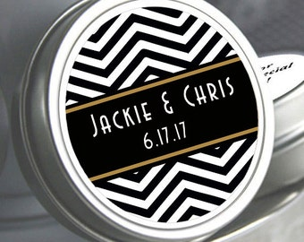 "12 Black Chevron Wedding Mint Tin Favors - Select the quantity you need below in the ""Pricing & Quantity"" option tab"
