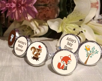 Woodlands Baby Shower Favors - Baby Animals Party Favors - Baby Animals Birthday Favors - Hershey® Kiss Stickers - Kiss Seals - 108 Stickers