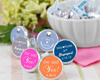 108 Engaged Hershey Kiss® Stickers - Hershey Kiss Stickers Wedding - Candy Labels - Custom Labels - Wedding Favors - Candy Stickers