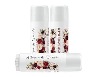 Lip Balm Labels - Personalized Lip Balm Labels - Our Love is the Balm Lip Balm labels - 1 Sheet of 12 Lip Balm Labels - Burgundy Rose