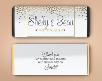 Large Personalized Candy Bar Wrappers, Bridal Shower Favor, Wedding Favor Decor, Wedding Decor -  Gold Dots Candy Wrappers (Set of 12)
