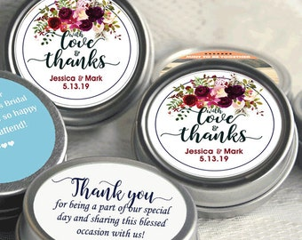 Wedding Decor - 12 Thank You Personalized Mint Tins - Personalized Wedding Mint Tin Favors - Personalized Wedding Favors - Burgundy Rose