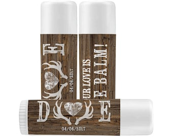 Lip Balm Labels - Personalized Lip Balm Labels - Our Love is the balm Deer Antlers and Heart labels - 1 Sheet of 12 Lip Balm Labels
