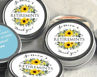 40 Retirement Mint Tins - RetireMints - Sunflower - Retirement Favors - Retirement Decor - Retirement Mints - Retired Mints