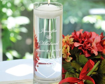 Personalized Floating Unity Candles - Heart and Butterflies
