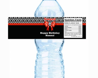 "Personalized Damask Sweet 16 Birthday Water Bottle Labels - Select the quantity you need below in the ""Pricing & Quantity"" option tab"