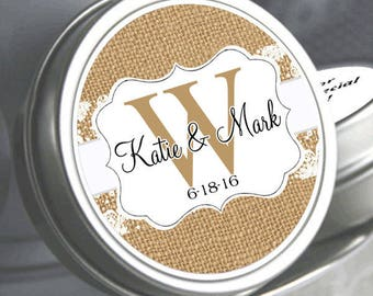 Wedding Favors 100 Personalized Wedding Mint Tins - Ribbon and Lace Monogram - Wedding Mints - Rustic Wedding Favors - Bridal Shower Favors
