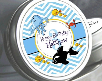 """12 Personalized Under the Sea Birthday Mint Tins - Need a different quantity? Click on the """"choose total"""" tab to see all pricing"""