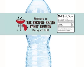 20 Annual Family BBQ Reunion Water Bottle Labels - Family Reunion Favors - Family Reunion Decor - Reunion Favors - BBQ Grill Favors