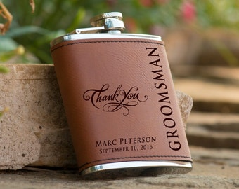 Personalized 6 oz. Leatherette Stainless Steel Flask - Groomsman Flask - Best Man Flask - Personalized Flask - Brown Flask - Thank you