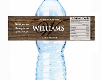20 Monogram Water Bottle Labels - Rustic Water Labels - Country Wedding - Bottle Wraps - Wedding Favors - Wedding Decor