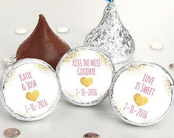 108 Wedding Kiss® Stickers - Hershey Kiss Stickers Bridal Shower - Personalized Hershey Kiss Labels - Kiss the Miss Goodbye - Wedding Decor