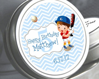 """12 Personalized Baseball Player Birthday Mint Tin Favors - Select the quantity you need below in the """"Pricing & Quantity"""" option tab"""