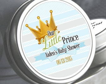 """12 Our Little Prince Baby Shower Mint Tins - Need a different quantity? Click on the """"choose total"""" tab to see all pricing"""